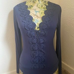 LULU's Blue low-cut lacy bodysuit size L